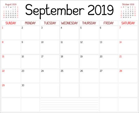 Year 2019 September Planner - A monthly planner calendar for September 2019 on white. A custom handwritten style is used.