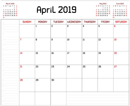 Year 2019 April Planner - A monthly planner calendar for April 2019 on white background. A custom straight lines thick font is used. Stock Vector - 111005279