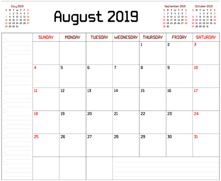 Year 2019 August Planner - A monthly planner calendar for August 2019 on white background. A custom straight lines thick font is used. Stock Vector - 111005277