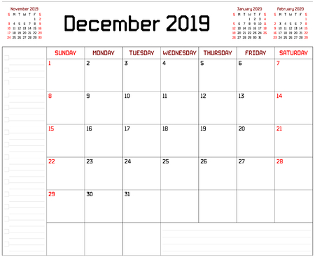 Year 2019 December Planner - A monthly planner calendar for December 2019 on white background. A custom straight lines thick font is used. Illustration
