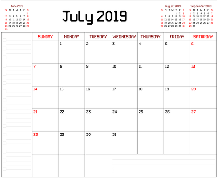 Year 2019 July Planner - A monthly planner calendar for July 2019 on white background. A custom straight lines thick font is used. Stock Vector - 111005281