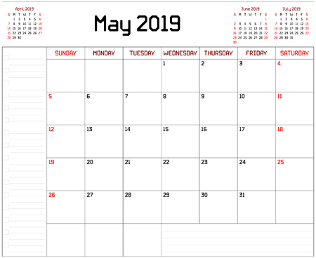 Year 2019 May Planner - A monthly planner calendar for May 2019 on white background. A custom straight lines thick font is used. Stock Vector - 111005285