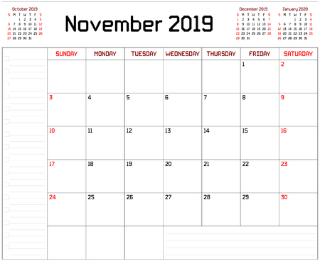 Year 2019 November Planner - A monthly planner calendar for November 2019 on white background. A custom straight lines thick font is used.