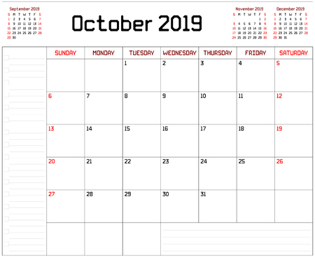 Year 2019 October Planner - A monthly planner calendar for October 2019 on white background. A custom straight lines thick font is used. Stock Vector - 111005289