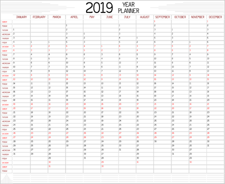 Year 2019 Planner - An annual planner calendar for the year 2019 on white. A custom handwritten style is used. Stock Vector - 111005292