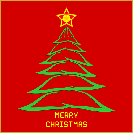 Christmas message with tree - Merry Christmas message in custom font with brush stroke tree and colorful star. Stock Vector - 112518818