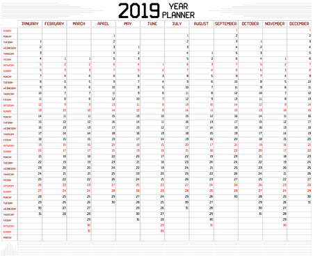 Year 2019 Planner - An annual planner calendar for the year 2019 on white. A custom straight lines thick font is used. Stock Vector - 112518821
