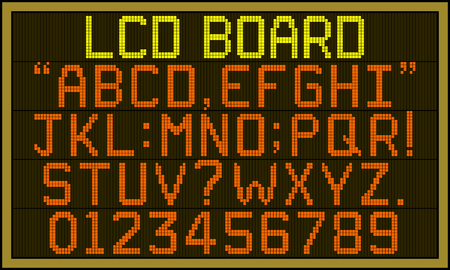 LCD board font - Retro LCD panel board with upper case alphabets, numerals and punctuation characters in square pixel font. Stock Vector - 112518825