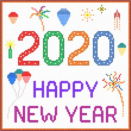 New year 2020 pixel message - 2020 New year message with balloons and fireworks. Square pixels of various colors have been used. Stock Vector - 137172185