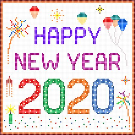 New year 2020 pixel message - 2020 New year message with balloons and fireworks. Stock Vector - 137177951