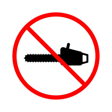 Deforestation is prohibited. Vector icon prohibiting illegal deforestation. No deforestation icon. No chainsaw. Crossed out chainsaw circle.