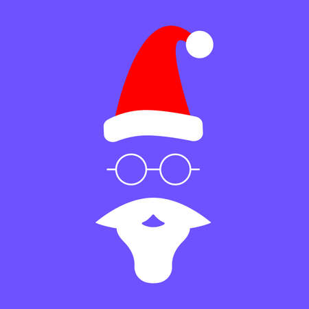 Santa hat, beard and mustache vector icon. Cap mustache and beard of Santa Claus isolated on Violet background. equipment for Santa Claus. Concept icon for Santa Claus. Icon in flat style. Vector illustration. Christmas and New Year.
