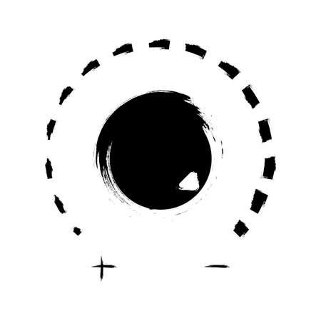 Volume Knob Icon in Grunge Style. Volume knob vector icon in flat style. Volume button icon in Grunge style isolated on white background.