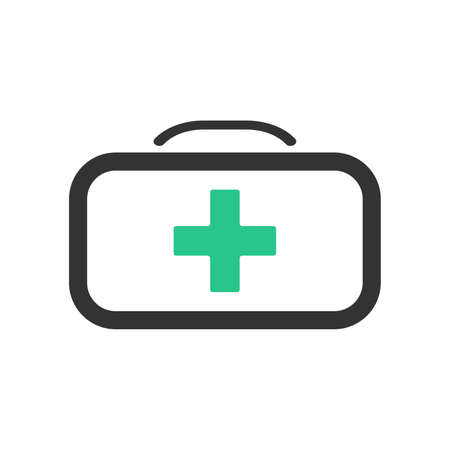 First aid kit icon. First aid case vector icon in flat style. First aid bag icon with green cross. Vector illustration. Simple icon. Medical equipment.