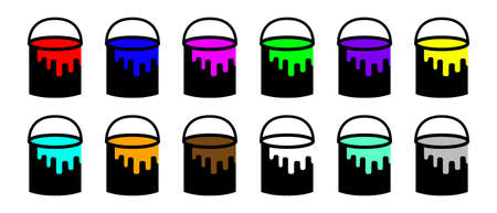 Set of vector icons of buckets with paint. Bucket icons with colored paints. Set of paint buckets in flat style isolated on white background. Vector illustration. Simple icons.