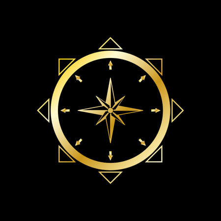 Geographic scientific compass vector icon. Compass wind rose icon in flat style. Compass vector icon in gold color. Gold compas on black background. Vector illustration. Icon isolated.