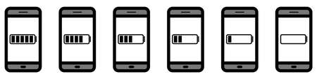 Vector set of smartphones with charging indicators on the screen. Smartphone icons with different battery charge levels. Simple icons of smartphones with batteries inside. Vector illustration. Icons isolated.