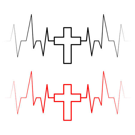 Vector heartbeat icon with cross. Set of black and red heartbeats with crosses. Heartbeat icon. Vector illustration.