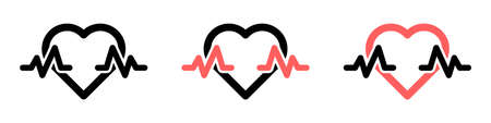 Vector set of icons of hearts with heartbeats. Set of heart symbols with pulse. Collection of hearts with heartbeat in flat style. Vector illustration.