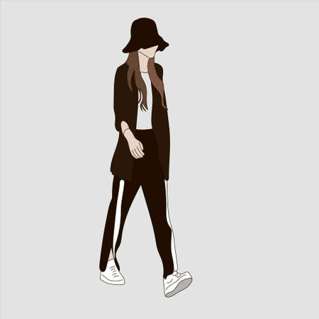 Vector illustration of Kpop street fashion. Street idols of Koreans. Kpop men's fashion idol. A girl in a black hat, black pants and white sneakers. Vector Illustration