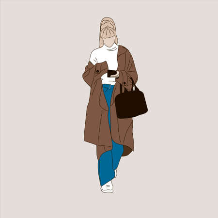 Vector illustration of Kpop street fashion. Street idols of Koreans. Kpop men's fashion idol. A girl in a brown coat with jeans and a black bag. Vector Illustration