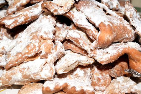 bugie: Ciacchiere are a typical Italian sweets usually prepared during the period of Carnival Stock Photo