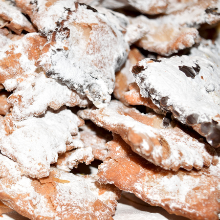 crostoli: Ciacchiere are a typical Italian sweets usually prepared during the period of Carnival Stock Photo