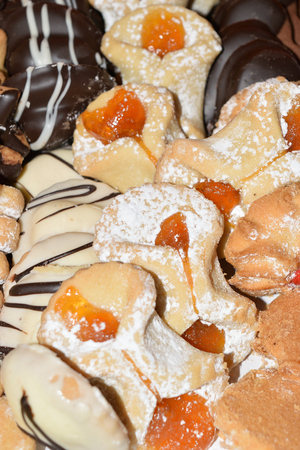 breackfast: assortment of delicious Sicilian biscuits with chocolate, vanilla and more Stock Photo