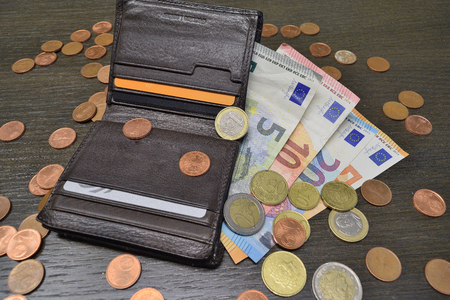 leather wallet with various euro banknotes and coins Reklamní fotografie