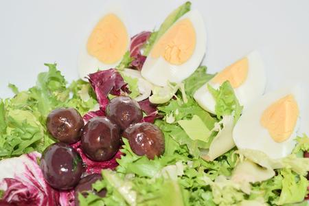 salad of radicchio lettuce eggs and olives