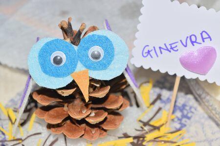 close up of an owl shaped pine cone Reklamní fotografie