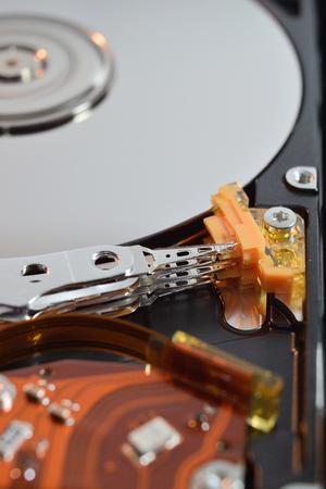 close up of a hard disk inside