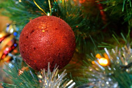 christmas balls on tree with lights and stars Reklamní fotografie