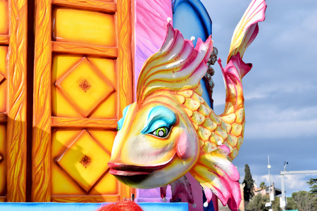 Acireale (CT), Italy - February 11, 2018: detail of a allegorical float depicting a colorful fish during the carnival parade along the streets of Acireale. Redakční