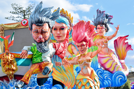 Acireale (CT), Italy - February 11, 2018: detail of a allegorical float depicting various fantasy characters during the carnival parade along the streets of Acireale. Redakční
