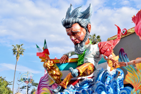 Acireale (CT), Italy - February 11, 2018: detail of a allegorical float depicting a fantasy characters during the carnival parade along the streets of Acireale.