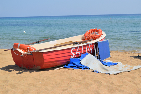 rescue boat on the beach in summer