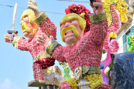 Acireale (CT), Italy - 29 April 2018: detail of a flowery float depicting various characters of fantasy during the parade of the flowers festival along the streets of Acireale. Redakční