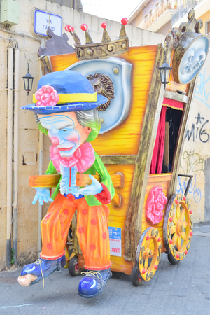 Acireale (CT), Italy - April 29, 2018: detail of a allegorical float depicting various fantasy characters during the carnival parade along the streets of Acireale. Editorial