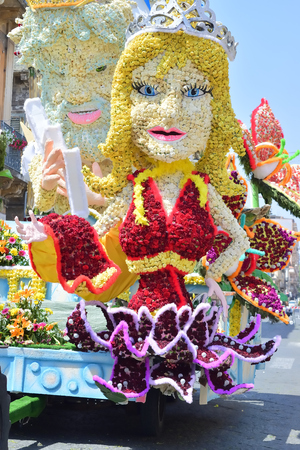 Acireale (CT), Italy - 29 April 2018: detail of a flowery float depicting various characters of fantasy during the parade of the flowers festival along the streets of Acireale. Editorial