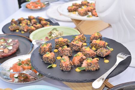 fingerfood of smoked salmon balls seasoned with various spices