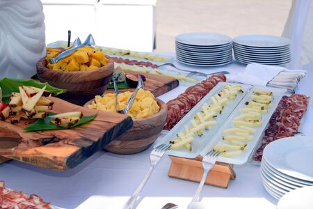 Selection of various Sicilian  cheeses and sausages