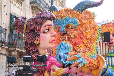 Acireale (CT), Italy - February 16, 2020: detail of a allegorical float depicting the characters of beauty and the beast during the carnival parade along the streets of Acireale. Redakční