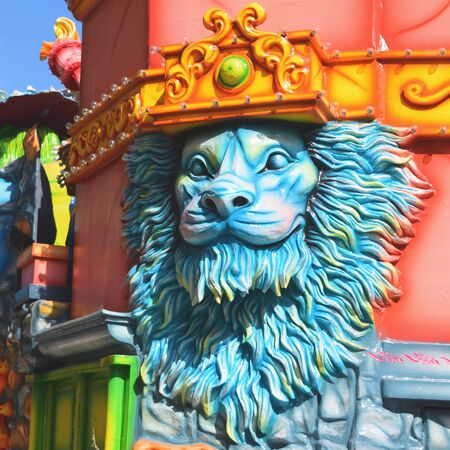 Acireale (CT), Italy - February 16, 2020: detail of a allegorical float depicting a lion during the carnival parade along the streets of Acireale.