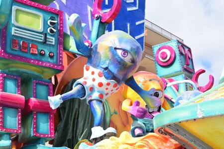 Acireale (CT), Italy - February 16, 2020: detail of a allegorical float depicting a extraterrestrial during the carnival parade along the streets of Acireale.