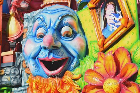Acireale (CT), Italy - February 16, 2020: detail of a allegorical float depicting various fantasy characters during the carnival parade along the streets of Acireale.