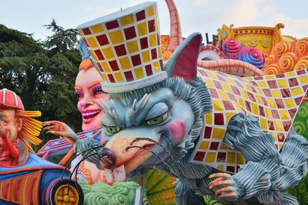 Acireale (CT), Italy - February 16, 2020: detail of a allegorical float depicting a mouse during the carnival parade along the streets of Acireale. Redakční