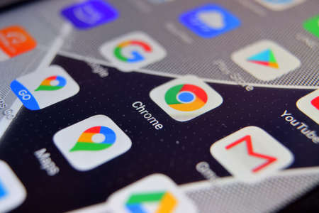 Valverde (CT), Italy - April 02, 2020: Close-up view of Google Chrome app on an Android smartphone, including other icons. Redakční