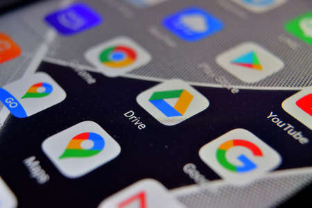 Valverde, Utalia - April 02, 2020: Close-up view of Google Drive app on an Android smartphone, including other icons. Foto de archivo - 144182290