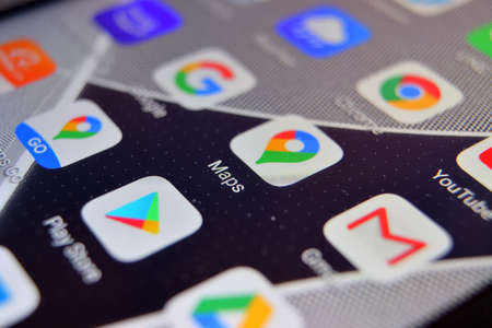 Valverde, Utalia - April 02, 2020: Close-up view of Google Maps app on an Android smartphone, including other icons.